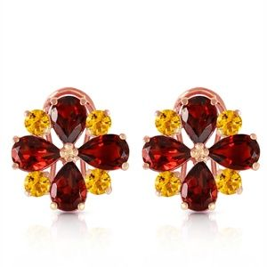 FRENCH CLIPS EARRING WITH GARNETS & CITRINES